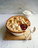 Apple and blackberry pie with port