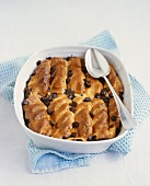 Bread and butter pudding with chocolate chips