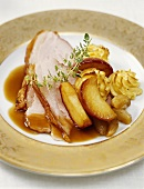 Burgundy ham with apple and thyme sauce