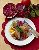 Duck with vanilla pears, red cabbage and dumpling