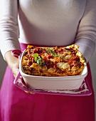 Lasagne al forno mit Hackfleisch und Bechamelsauce
