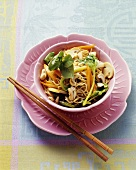 Asian noodle dish with vegetables and cashew nuts