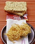 Dried and deep-fried Asian egg noodles