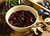 Elderberry and damson compote