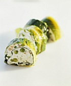 Salmon and pea terrine wrapped in lettuce