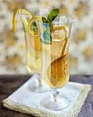 White wine sangria with limoncello, orange and lemon slices