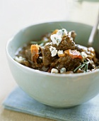 Beef ragout with blue cheese and bacon