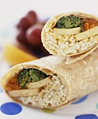 Vegetarian wraps (with tofu, rice and vegetables)