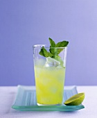Refreshing cocktail with cucumber, mint and ice cubes