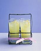 Refreshing basil lemonade in glasses