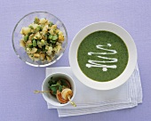 Parsley soup, scallop skewers and potato salad