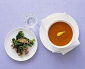 Cream of red pepper soup & chicken skewers with grilled broccoli