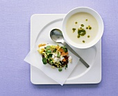 Cream of cauliflower soup with coriander and side salad