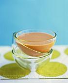 Cream of tomato soup in glass bowl