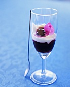 Blackberry and rose cream in a glass