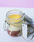 Rhubarb and custard cooked in a preserving jar