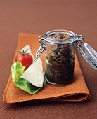 Balsamic onions in preserving jar