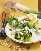 Leeks with lemon, mint and almonds