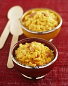 Saffron risotto in small bowls