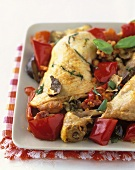 Poulet basque a la paysanne (Basque chicken with peppers)