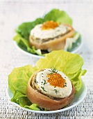 Stuffed artichoke hearts with smoked trout and caviar