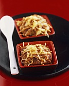 Cassolette of beef with melted cheese