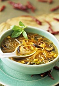 Spicy soup with sweetcorn, shiitake mushrooms and glass noodles