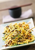 Ribbon noodles with four types of mushrooms