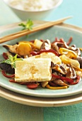 Asian vegetables with slices of tofu