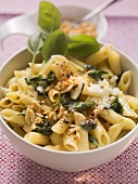 Penne with chilli & vanilla scattered with peanuts & basil
