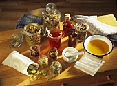Dried medicinal plants in jars