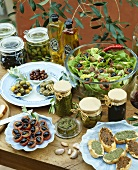 Assorted appetisers with olives