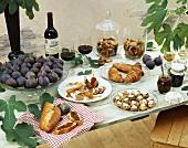 Breakfast buffet with figs