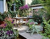 Farbenprächtig bepflanzte Terrasse eines Wohnhauses mit Backsteinfassade