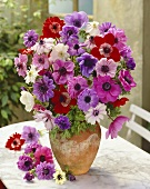 Vase of mixed anemones