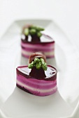Beetroot and soft cheese 'chocolates' with Thai asparagus