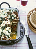 Minced lamb & courgette lasagne with sheep's cheese & mint