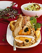 Roast turkey roll with pumpkin & plum stuffing, cabbage salad