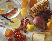 Brunch: ham and eggs, toast, salmon caviar, fruit, jam