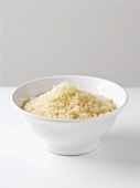 Uncooked rice in a small bowl