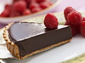 A piece of tarte au chocolat (Chocolate tart)