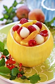 Refreshing fruit salad served in hollowed-out honeydew melon