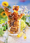 Spicy poultry and fruit skewers