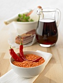Red lentils, chillies, bacon, red wine, soup vegetables