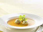 Clear soup with bone marrow dumplings