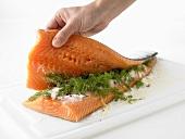 Marinating salmon (for gravadlax)