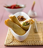 Crispy spring rolls with mince filling