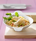 Glass noodles with squid and coriander & coconut sauce