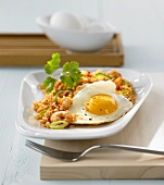 Nasi goreng with prawns and fried egg