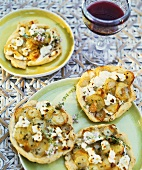 Small goat's cheese and potato tarts